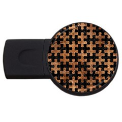 Puzzle1 Black Marble & Brown Stone Usb Flash Drive Round (2 Gb) by trendistuff