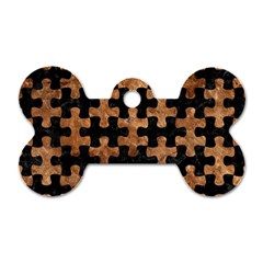 Puzzle1 Black Marble & Brown Stone Dog Tag Bone (two Sides) by trendistuff
