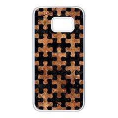 Puzzle1 Black Marble & Brown Stone Samsung Galaxy S7 White Seamless Case by trendistuff
