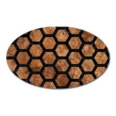 Hexagon2 Black Marble & Brown Stone (r) Magnet (oval) by trendistuff