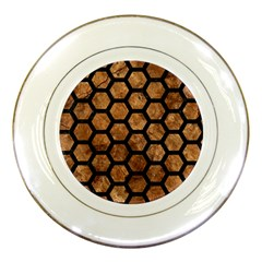 Hexagon2 Black Marble & Brown Stone (r) Porcelain Plate by trendistuff