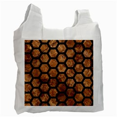 Hexagon2 Black Marble & Brown Stone (r) Recycle Bag (one Side) by trendistuff