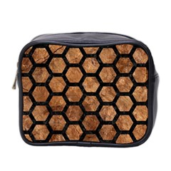 Hexagon2 Black Marble & Brown Stone (r) Mini Toiletries Bag (two Sides) by trendistuff
