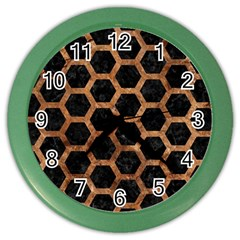 Hexagon2 Black Marble & Brown Stone Color Wall Clock by trendistuff