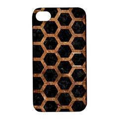 Hexagon2 Black Marble & Brown Stone Apple Iphone 4/4s Hardshell Case With Stand by trendistuff