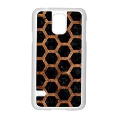 Hexagon2 Black Marble & Brown Stone Samsung Galaxy S5 Case (white) by trendistuff