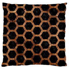 Hexagon2 Black Marble & Brown Stone Large Flano Cushion Case (two Sides) by trendistuff