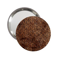 Hexagon1 Black Marble & Brown Stone (r) 2 25  Handbag Mirror by trendistuff