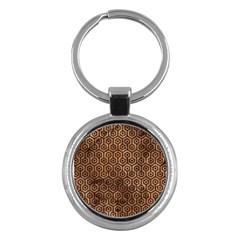 Hexagon1 Black Marble & Brown Stone (r) Key Chain (round) by trendistuff