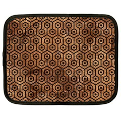 Hexagon1 Black Marble & Brown Stone (r) Netbook Case (xl)