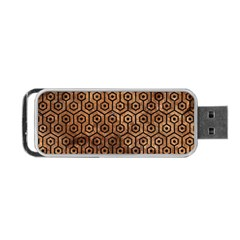 Hexagon1 Black Marble & Brown Stone (r) Portable Usb Flash (two Sides) by trendistuff