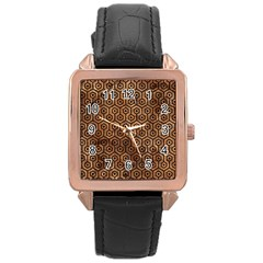 Hexagon1 Black Marble & Brown Stone (r) Rose Gold Leather Watch  by trendistuff