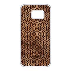 Hexagon1 Black Marble & Brown Stone (r) Samsung Galaxy S7 Edge White Seamless Case by trendistuff