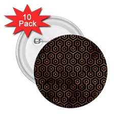 Hexagon1 Black Marble & Brown Stone 2 25  Button (10 Pack) by trendistuff