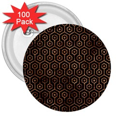 Hexagon1 Black Marble & Brown Stone 3  Button (100 Pack) by trendistuff