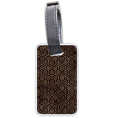 Hexagon1 Black Marble & Brown Stone Luggage Tag (one Side) by trendistuff
