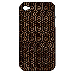 Hexagon1 Black Marble & Brown Stone Apple Iphone 4/4s Hardshell Case (pc+silicone) by trendistuff