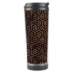 Hexagon1 Black Marble & Brown Stone Travel Tumbler by trendistuff