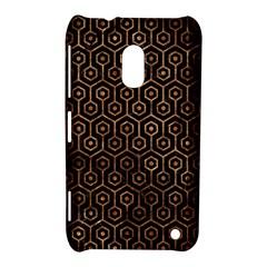 Hexagon1 Black Marble & Brown Stone Nokia Lumia 620 Hardshell Case by trendistuff