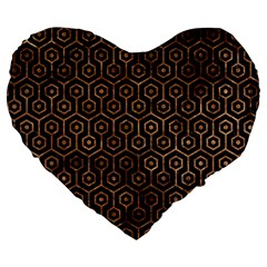 Hexagon1 Black Marble & Brown Stone Large 19  Premium Flano Heart Shape Cushion by trendistuff