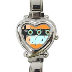 Orange, Aqua, Black Spots And Stripes Heart Italian Charm Watch by theunrulyartist