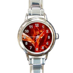 Red Abstract Pattern Texture Round Italian Charm Watch by Nexatart