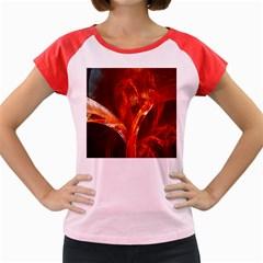 Red Abstract Pattern Texture Women s Cap Sleeve T Shirt