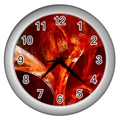 Red Abstract Pattern Texture Wall Clocks (silver)  by Nexatart