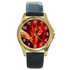 Red Abstract Pattern Texture Round Gold Metal Watch