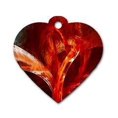 Red Abstract Pattern Texture Dog Tag Heart (two Sides) by Nexatart
