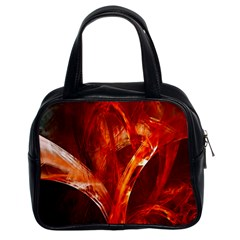 Red Abstract Pattern Texture Classic Handbags (2 Sides)