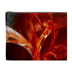 Red Abstract Pattern Texture Cosmetic Bag (xl) by Nexatart