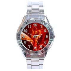 Red Abstract Pattern Texture Stainless Steel Analogue Watch by Nexatart