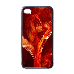 Red Abstract Pattern Texture Apple Iphone 4 Case (black)