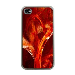 Red Abstract Pattern Texture Apple Iphone 4 Case (clear)