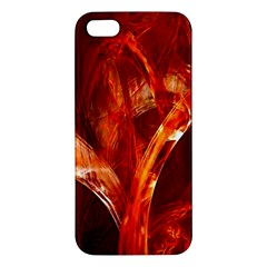 Red Abstract Pattern Texture Apple Iphone 5 Premium Hardshell Case by Nexatart