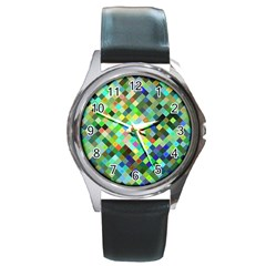 Pixel Pattern A Completely Seamless Background Design Round Metal Watch