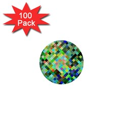 Pixel Pattern A Completely Seamless Background Design 1  Mini Buttons (100 Pack)  by Nexatart