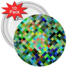 Pixel Pattern A Completely Seamless Background Design 3  Buttons (10 Pack)