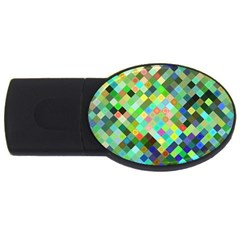 Pixel Pattern A Completely Seamless Background Design Usb Flash Drive Oval (2 Gb)