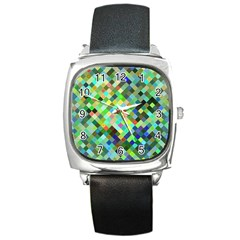 Pixel Pattern A Completely Seamless Background Design Square Metal Watch