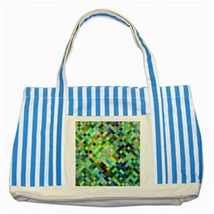 Pixel Pattern A Completely Seamless Background Design Striped Blue Tote Bag by Nexatart