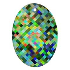 Pixel Pattern A Completely Seamless Background Design Oval Ornament (two Sides) by Nexatart
