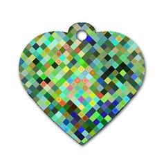 Pixel Pattern A Completely Seamless Background Design Dog Tag Heart (one Side)