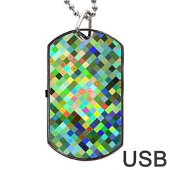 Pixel Pattern A Completely Seamless Background Design Dog Tag Usb Flash (two Sides)