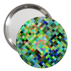 Pixel Pattern A Completely Seamless Background Design 3  Handbag Mirrors by Nexatart