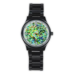 Pixel Pattern A Completely Seamless Background Design Stainless Steel Round Watch by Nexatart