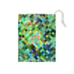 Pixel Pattern A Completely Seamless Background Design Drawstring Pouches (medium)  by Nexatart