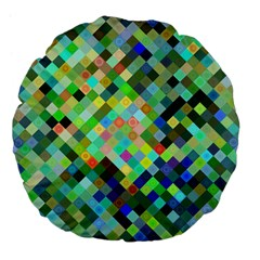 Pixel Pattern A Completely Seamless Background Design Large 18  Premium Flano Round Cushions by Nexatart