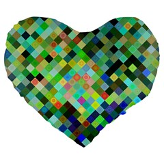 Pixel Pattern A Completely Seamless Background Design Large 19  Premium Flano Heart Shape Cushions